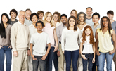Diverse group of people standing together in a large group photo, representing a sense of multi-ethnic community. Horizontal shot.